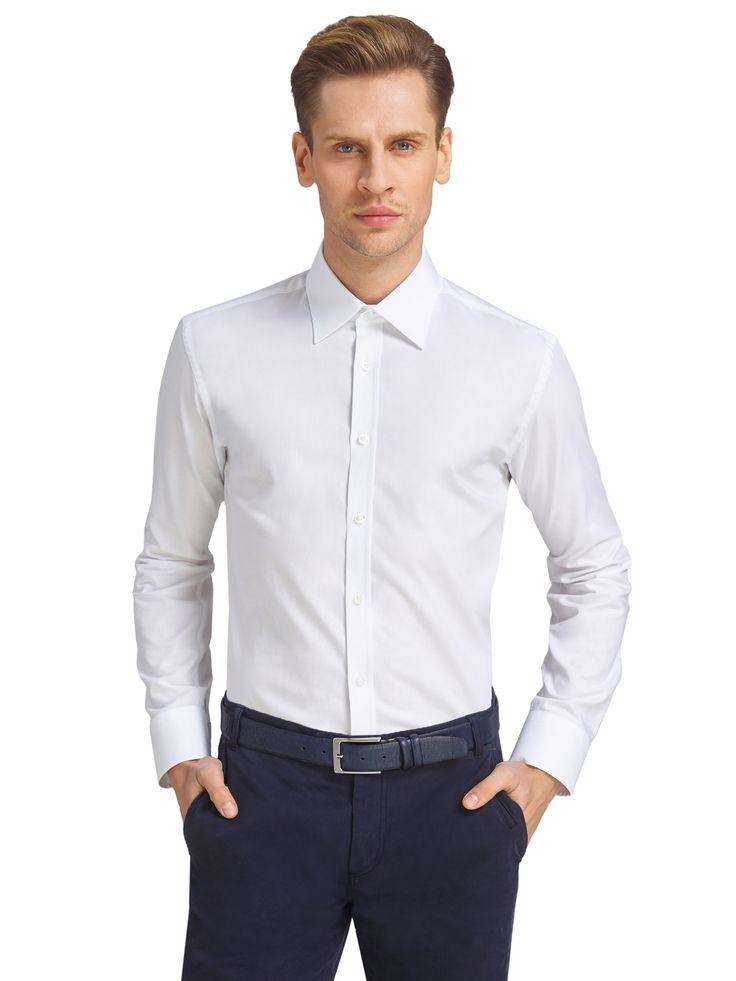 Biała koszula męska Wólczanka o ponadczasowym i eleganckim wzornictwie.