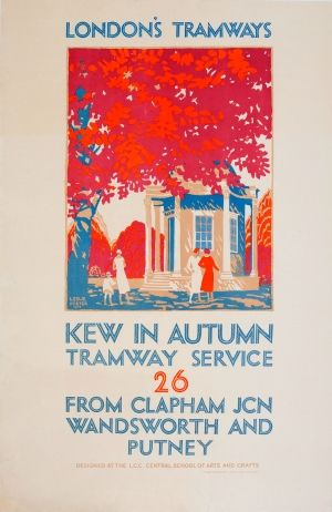 LT Kew Gardens London Tramways, 1925 - original vintage poster by Leslie Porter for London's Tramways Kew in Autumn Tramway Service 26 from Clapham Junction Wandsworth and Putney designed at the LCC Central School of Arts and Crafts listed on AntikBar.co.uk