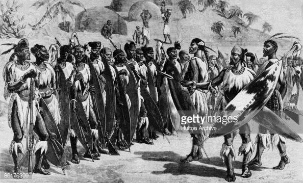 A muster of Zulu warriors preparing for an attack during the AngloZulu War of 1879 Original Publication The Graphic 22nd February 1879