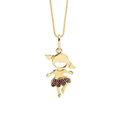 84c3298af2221 Pingente Bailarina Ouro Amarelo e Rubis   kids jewellery in 2019 ...