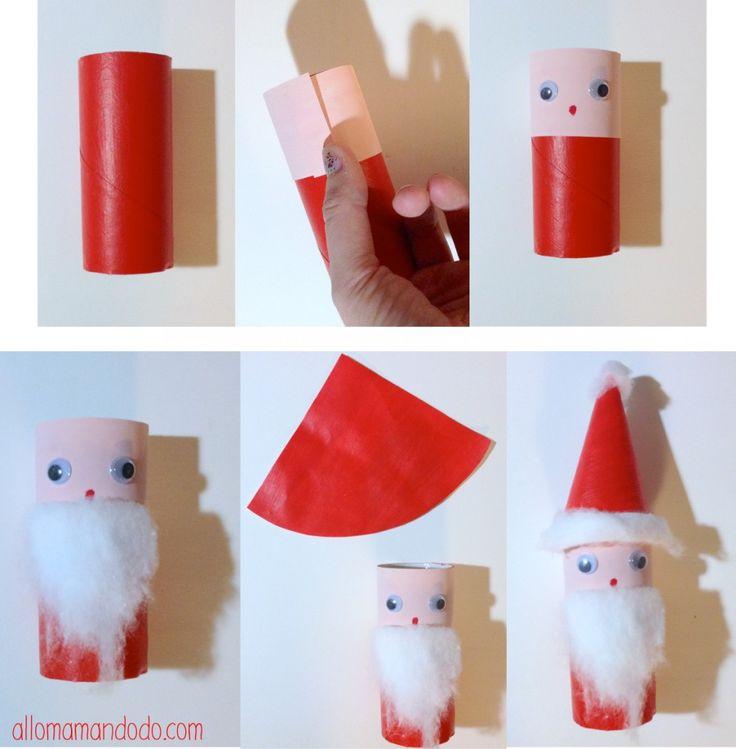 DIY Père Noël Papier toilette Santa Claus DIY roll toilet paper  DIY Tuto Père Noël en rouleau de papier toilette http://allomamandodo.com/diy-pere-noel-super-activite-les-enfants-rouleau-papier-toilette/