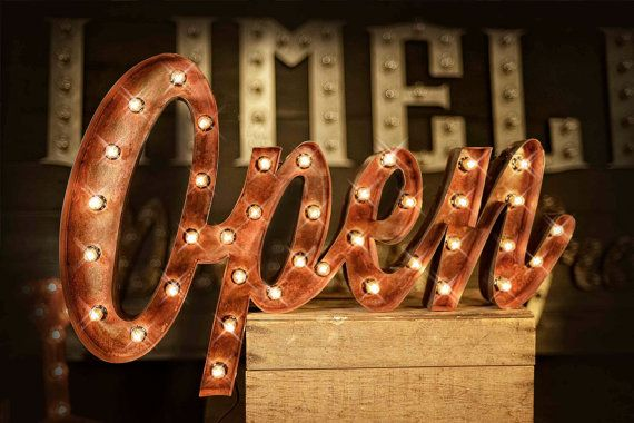 Vintage Style Marquee Script Open Sign Marquee by TLNFunctionalArt, $305.00