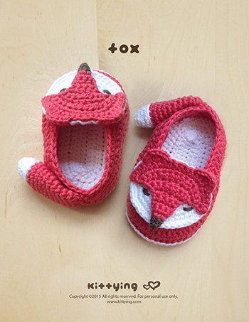 Patrón Crochet - Patrón Fox bebé botines Fox Preemie Calcetines Fox apliques Foxy ganchillo bebé Zapatillas zapatos de bebé (FB04-O-PAT)