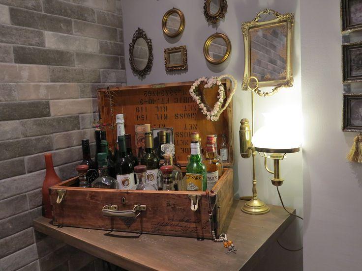 wood suitcase bar-decor vintage