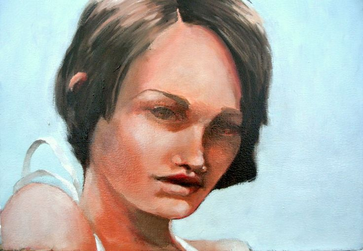 Girl With White Ribbon - original portrait painting for sale by Mila Posthumus | StateoftheART.co.za