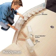 Instructions on how to build a glass block shower wall... Do a dry lay out of the glass block installation first.