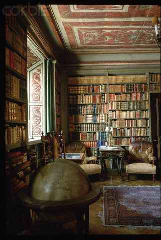 Library at Tido Castle (Vasteras, Sweden). Every home needs a library preferably one of this magnitude.