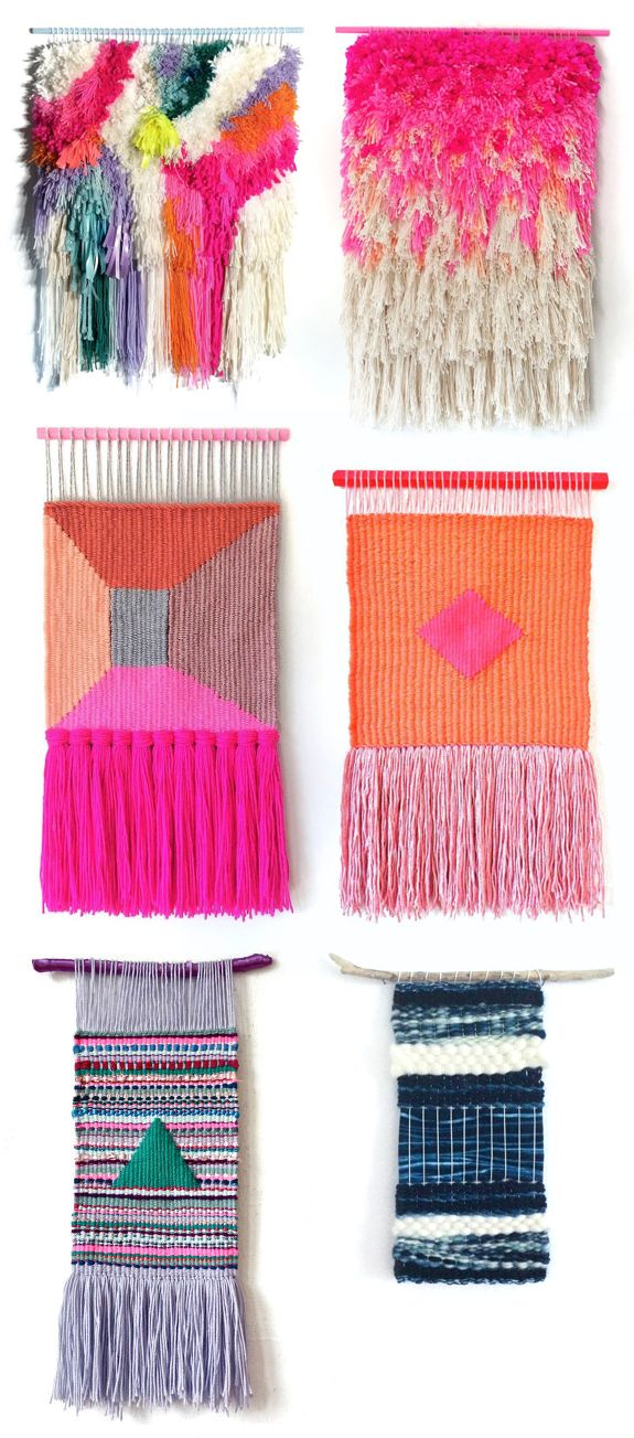 A CUP OF JO: Woven wall hangings. Love the top right hand side hanging!
