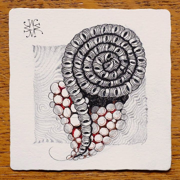 Zentangle: Spiral Love - Anyone know the name of the tangle that's in the spiral here?  I've seen it before, and forgotten the name.