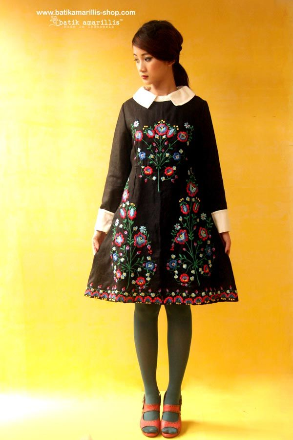 Batik Amarillis Made in Indonesia Proudly presents : Batik Amarillis's Wednesday dress ♥ ♥ ...elegant embellished dress with gorgeously intricate floral hungarian embroidery style , accented with a crisp contrast collar and matching cuffs