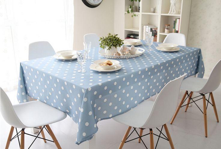 Свежий деревенский краткое современная точка ткань столовая скатерть кофе скатерть синий белый