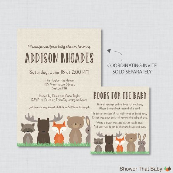 Woodland Baby Shower Bring a Book Instead of a by ShowerThatBaby