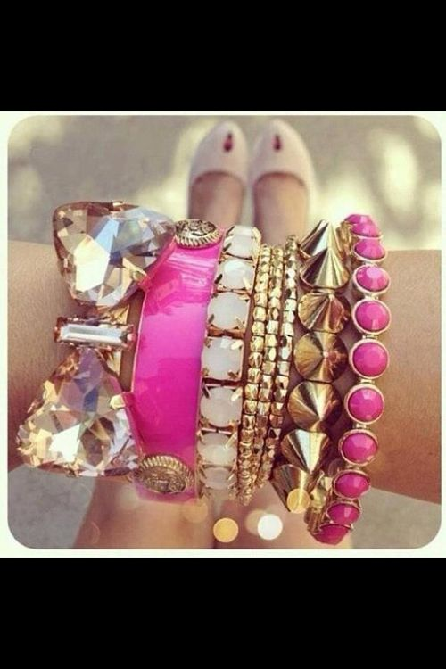 love the mix of textures and colors.  #fashion #bows #pink #jewelry  http://www.acneonestep.com