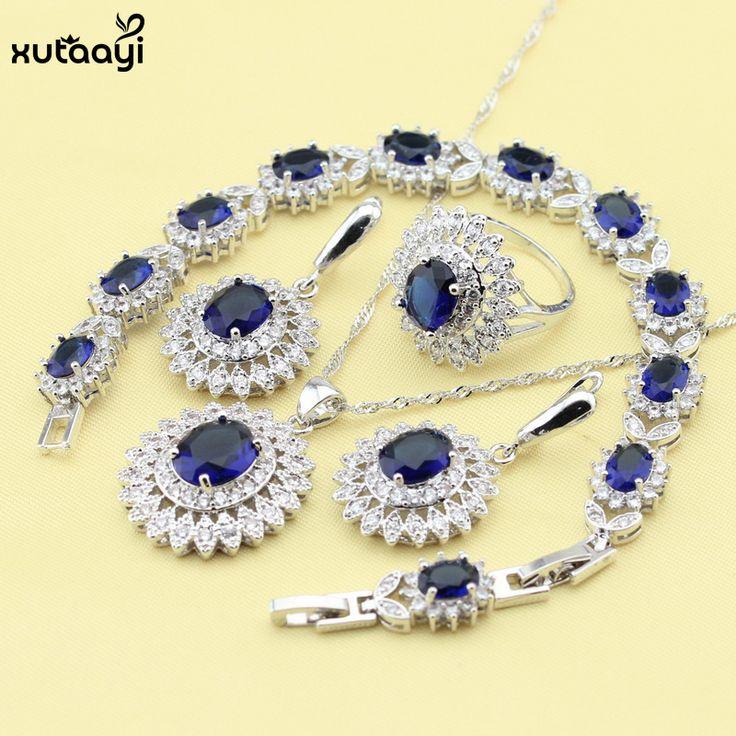 XUTAAYI Blue Synthetic Sapphire AAA Quality 925 Silver Jewelry Sets For Women Classy Wedding Necklace/Rings/Earrings/Bracelet