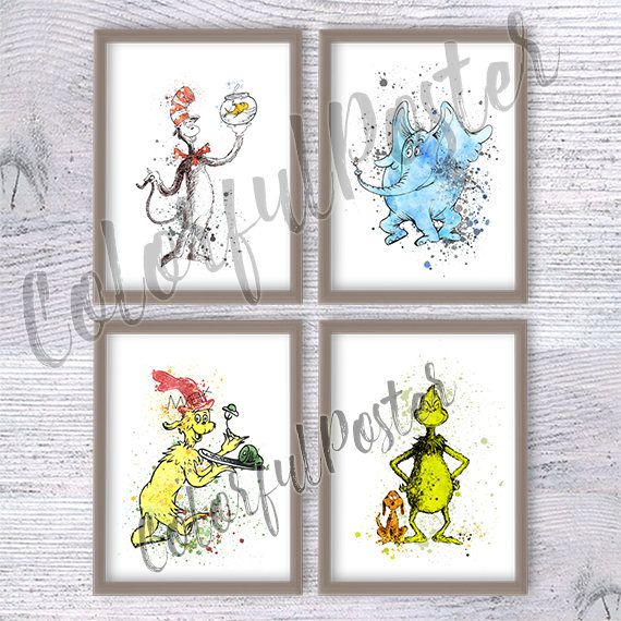 Dr Seuss watercolor poster Set of 4 Dr Seuss art print Dr Seuss wall decor Playroom wall decoration Kids room wall art Baby shower gift - ♥ SAVE 20% ♥  ♥ Fantasy Movie art prints: https://www.etsy.com/shop/ColorfulPoster?section_id=18526251&ref=shopsection_leftnav_2  ♥ SET of prints available with DISCOUNT: https://www.etsy.com/shop/ColorfulPoster?section_id=18478020&ref=shopsection_leftnav_2  ♥ Make your own set with DISCOUN...