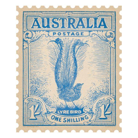 Lyre Bird Australian postage stamp wall sticker