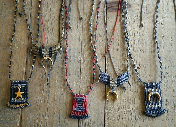 Crochet necklaces, macrame necklaces, boho jewelry, boho chic necklaces