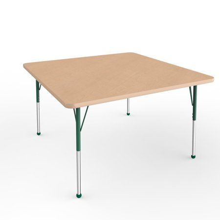 ECR4Kids 48in x 48in Square Premium Thermo-Fused Adjustable Activity Table Maple/Maple/Green – Standard Ball