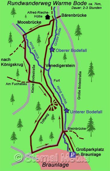 Rundwanderweg ab Braunlage zu den Bodewasserfällen Warme Bode