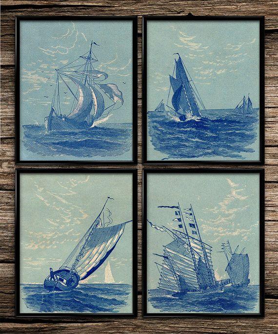 Blue Ship Set | Vintage Print | Nautical Print | Home Decor | Office Decor | Printable Wall Art | Vintage Wall Art | Download