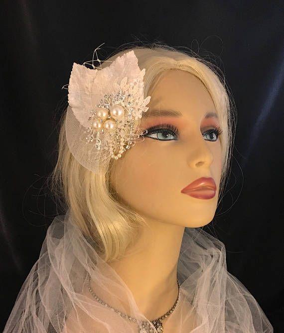 Fascinator Ivory Velvet Leaf fascinator Vintage Style Bridal