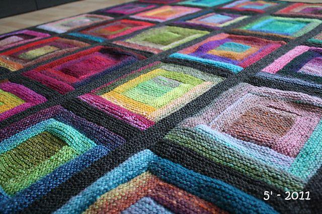 paintbox log cabin blanket, free knitting pattern