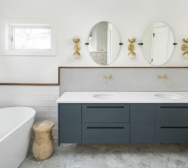 Floating Vanity The Master Bathroom Features A Double Floating Vanity Countertop Is White Quartz Mosaic Bathroom Tile Bathroom Layout Budget Bathroom Remodel