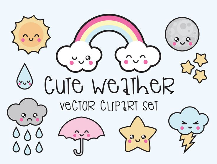 Premium Vector Clipart - Kawaii Weather Clipart - Kawaii Weather Clip art Set - High Quality Vectors - Instant Download - Kawaii Clipart (2.99 USD) by LookLookPrettyPaper