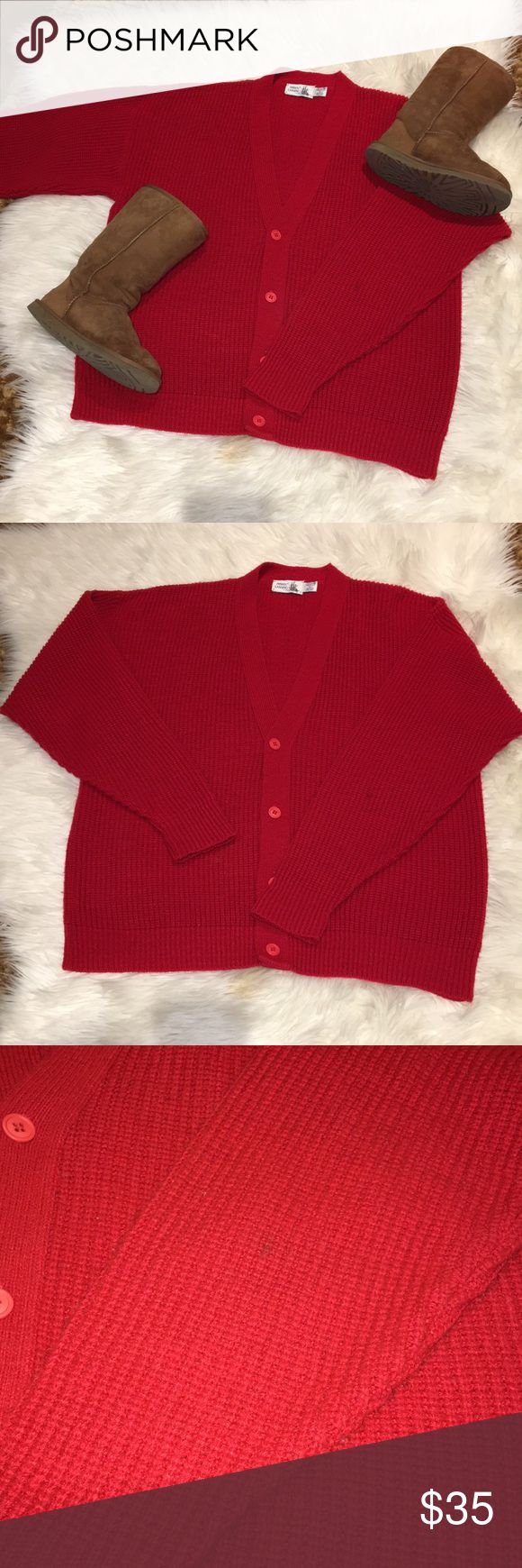 Red button up sweater jacket cardigan Beautiful new condition red button sweater jacket cardigan. Size Large. Perfect for holidays or for warm comfy wear. Shoulder to shoulder is 25 inches. From neck to bottom is 27.5 inches. Sleeves are 24.5 inches   💰Bundle & Save  ❌No Trades Sweaters Cardigans