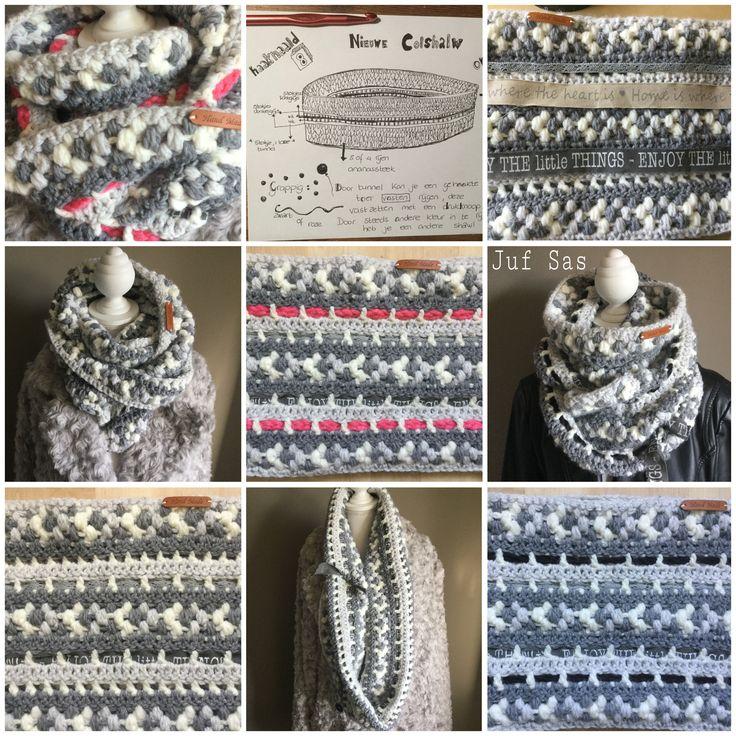 Vlog 5 Grijs/witte colshawl met ananassteek handmade by @jufsas met gratis patroon