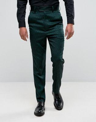 ASOS – Elegante, enge Hose mit hohem Bund und kleinem Paisleymuster
