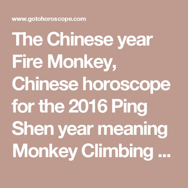 The Chinese year Fire Monkey, Chinese horoscope for the 2016 Ping Shen year meaning Monkey Climbing the Mountain