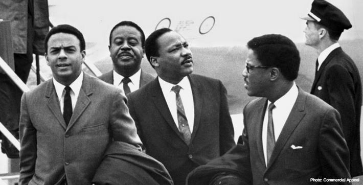 After a bomb threat halted the plane at an Atlanta tarmac, Dr. King along with his advisers flew to Memphis, where they landed around 10:30 a.m. He planned to speak to the striking garbage workers as part of his Poor People's Campaign.  Today, Memphis International Airport - MEM is recognizing this historic arrival with a marker dedicated to Dr. King.