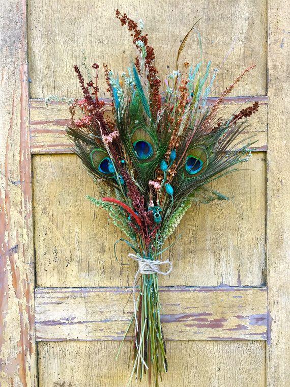 Dried Flower Arrangement Bouquet Peacock by CorvidaeCuriosity