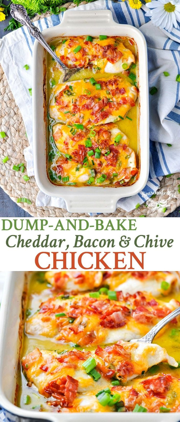 Dump-and-Bake Cheddar, Bacon & Chive Chicken Breast Recipe | Easy Dinner Recipes | Dinner Ideas | Chicken Recipes | Baked Chicken | Baked Chicken Recipes