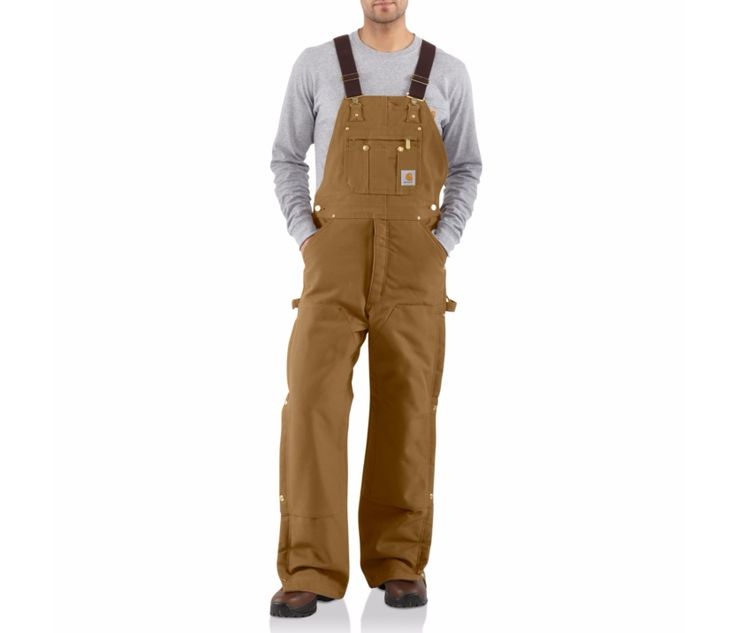 Carhartt Quilted Zip To Thigh Bib Overall Brown Tan Men's 46W 28L New R41