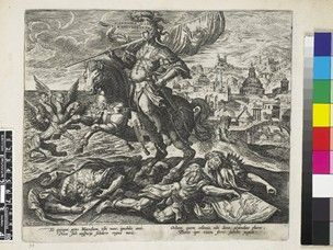 """Alexander magnus; third in the series """"Four illustrious rulers of antiquity"""", published by Collaert. The warrior king in armour and on horseback, bearing a standard depicting a goat, the horse trampling two kings, one with a standard depicting a lion; a city in the background to r and the sea to l; a chimera with a leopard's body, four heads and four wings, to l, rampant, steps from the sea and towards Alexander.    Etching and engraving"""