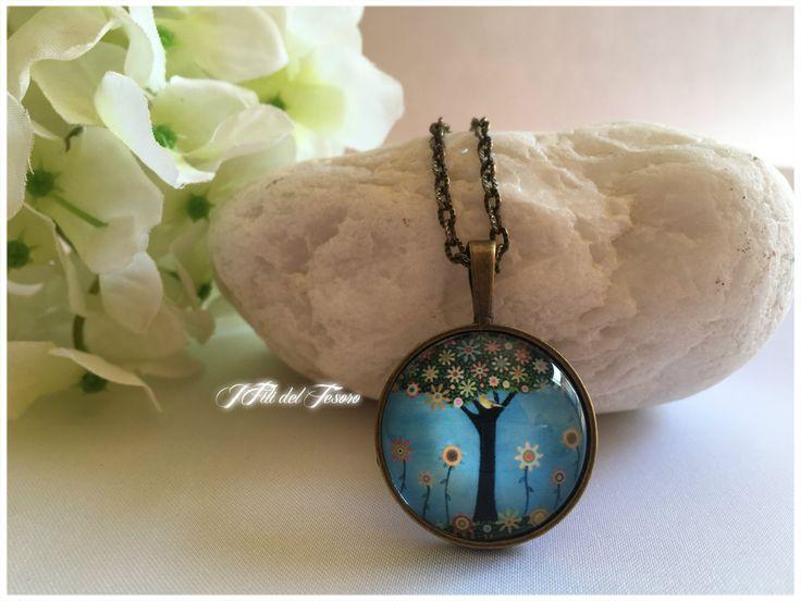 Collana lunga in bronzo con medaglione albero della vita, ciondolo con cabochon in vetro albero della vita, bohochic, spiritual, zen, regalo di IFilidelTesoro su Etsy