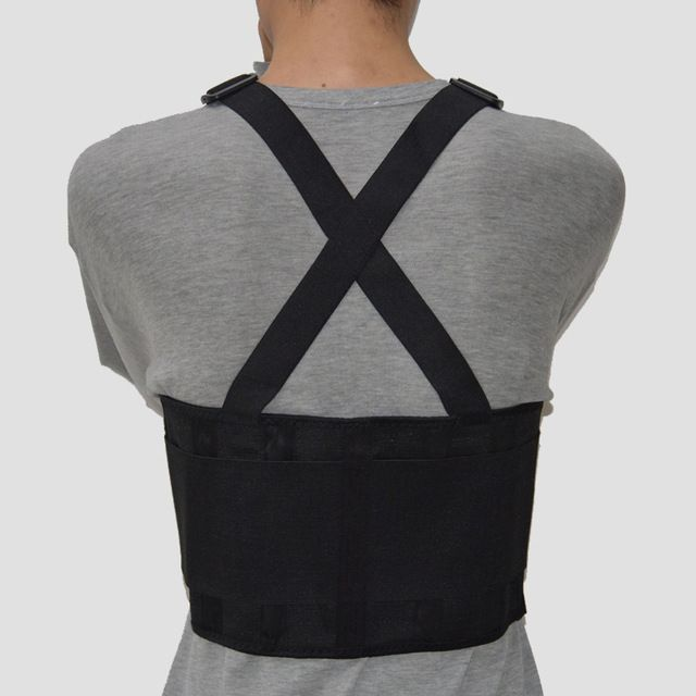 Heavy Duty Lift Lumbar Lower Back Waist Support Belt Brace Suspenders for Work S
