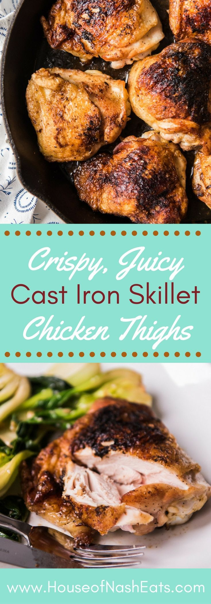 Crispy Cast Iron Skillet Chicken Thighs are always a hit with the family and are a mostly hands-off dinner that is ready in less than 30 minutes! Better for you than classic fried chicken but still with delicious crispy skin and moist, tender meat that your family will love and that pairs perfectly almost any side! #chicken #thighs #fried #castiron #crispy #skillet #whole30