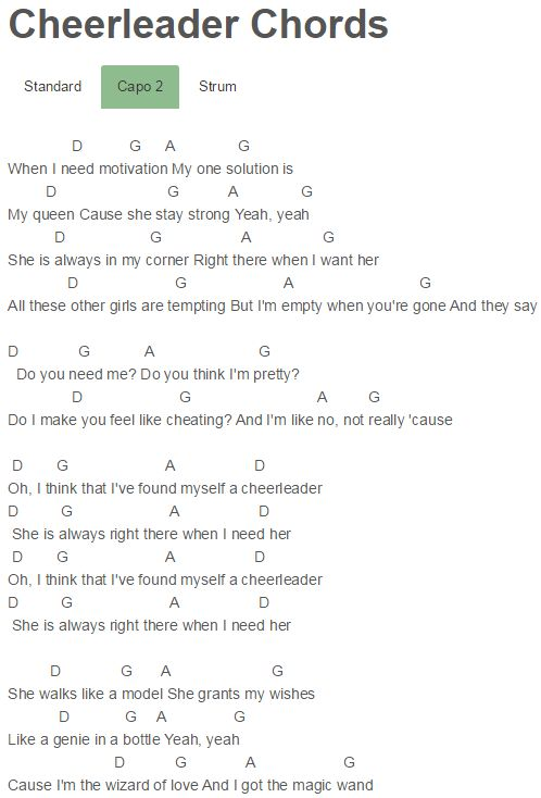 OMI Cheerleader Chords Lyrics for Guitar Ukulele Piano Keyboard with  Strumming Pattern on Standard No capo, Tune down and Capo Version.