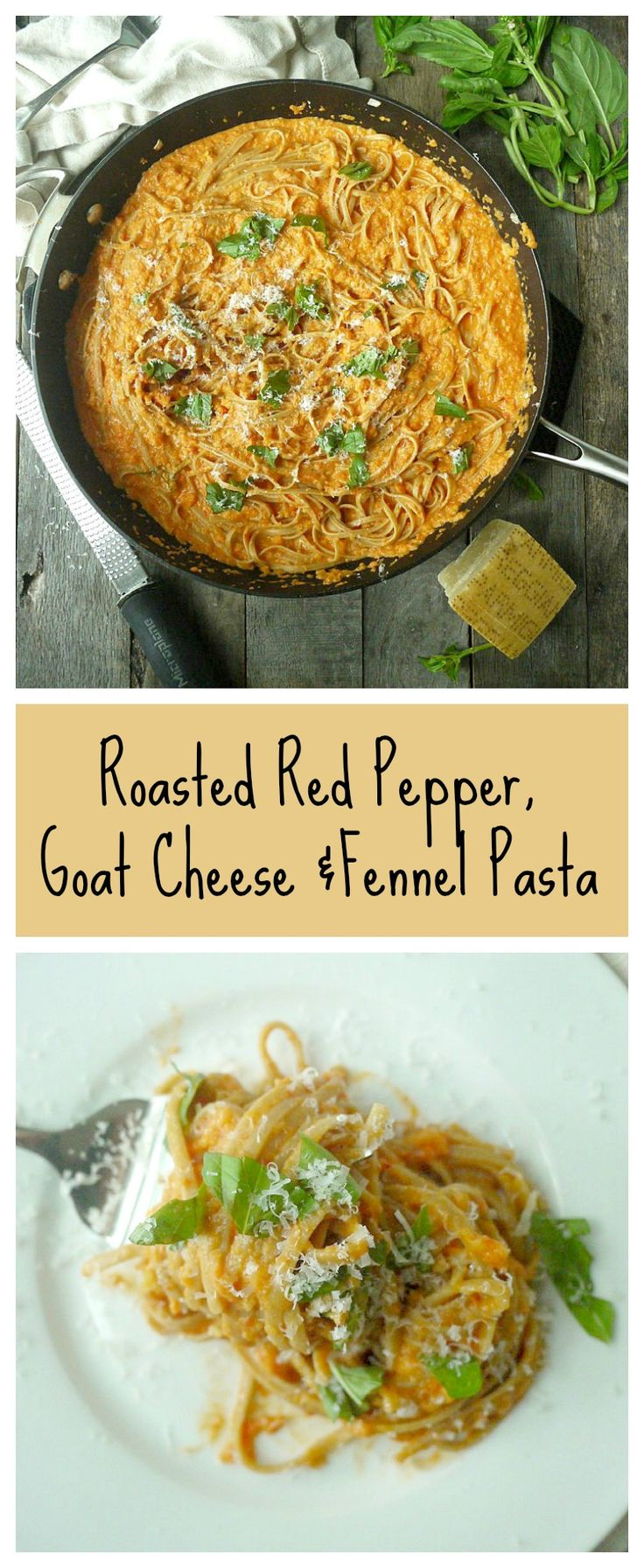 This creamy pasta is low on dairy and high on veggies! #pasta #roastedpepper