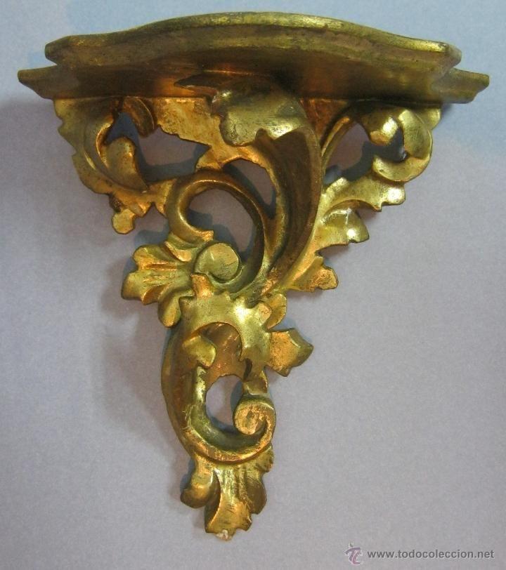 Antigua peana repisa de madera dorada antig edades - Pintura dorada para madera ...