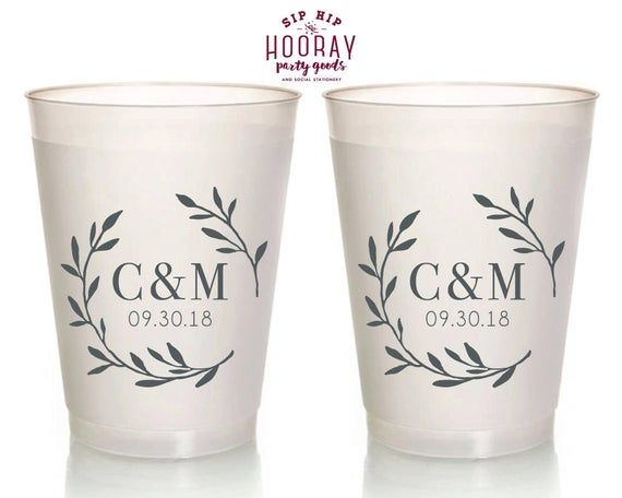 Personalized Plastic Cup Printed Cups Wedding Party Cups Plastic Cups Frost Flex Cups Frosted Cups Monogram Cups Custom Wedding Cups