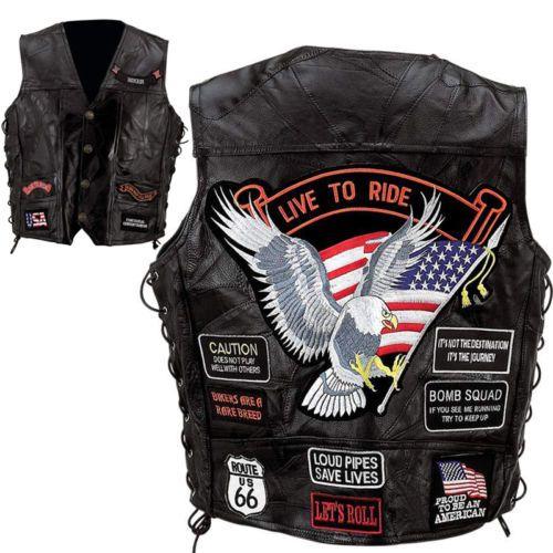 Leather-Biker-Vest-Men-Motorcycle-Vest-Rider-Vest-14-Patches-eagle-flag-S-5XL