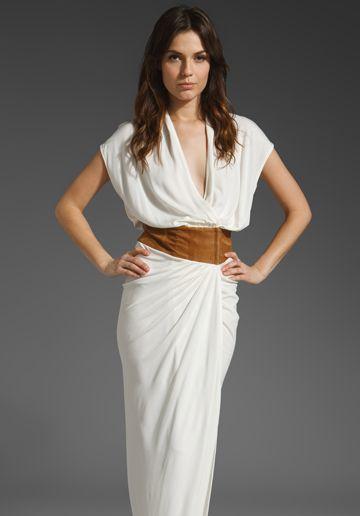 Gorg Gown  HAUTE HIPPIE Open Neck Gown with Belt