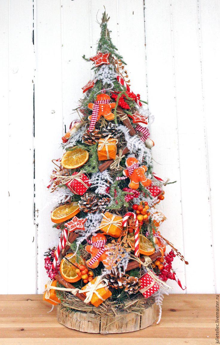 Купить Настольная елочка - оранжевый, настольная елка, оригинальная елка, пряничный человечек, поадрок, новыцй год