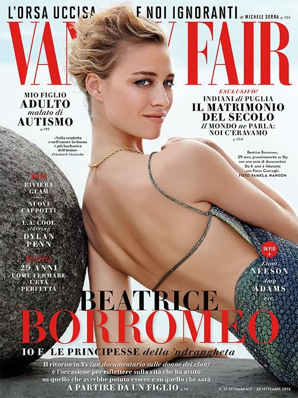 Beatrice Borromeo wearing a mermaid gown with sequins by #GiorgioArmani on the cover of Vanity Fair Italia
