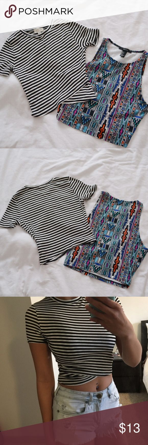Bundle // NEW Stripe & Aztec Crop Tops [ Bundle ] // NEW Silence+Noise Stripe & XXI Aztec Crop Tops // Size: XS (Left) & Small (Right) // New - never worn // Can be sold separately, view other listings! Forever 21 Tops Crop Tops