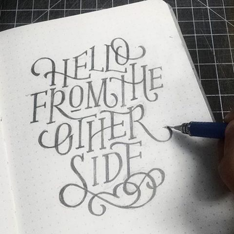 """Hello from the other side"" by @dandrawnwords  #Goodtype #StrengthInLetters"